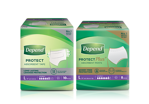 Depend absorbent pants and tapes packshot